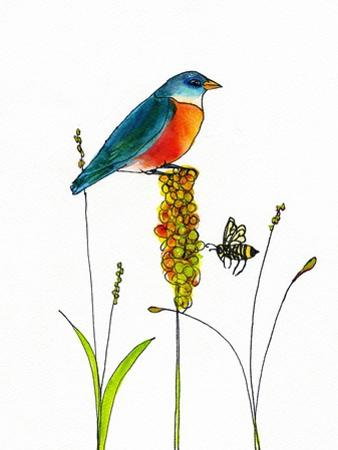 Bird and Honey Bee Print by Blenda Tyvoll