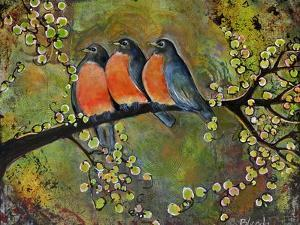 Birds Robins Family Portrait by Blenda Tyvoll