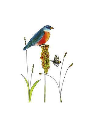 Bluebird on Seeds by Blenda Tyvoll