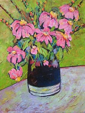 Coneflowers on Green by Blenda Tyvoll
