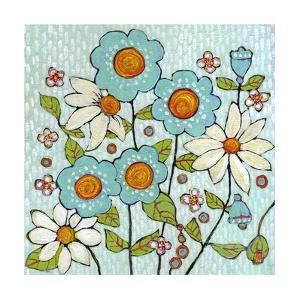 Daisy Blue Flowers by Blenda Tyvoll
