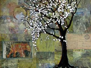 Elephant Under Tree Blossoms by Blenda Tyvoll