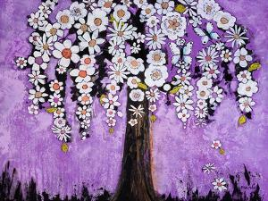 Flowers and Two Butterflies Tree Print by Blenda Tyvoll