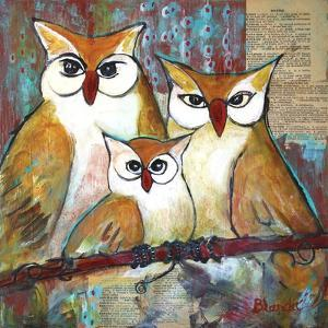 Owl Family Portrait by Blenda Tyvoll