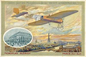 Bleriot Monoplane and a View of Paris Showing the Pont Neuf