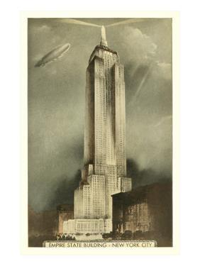 Blimp over Empire State Building, New York City