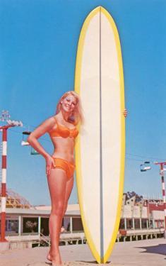 Blonde Bathing Beauty with Board