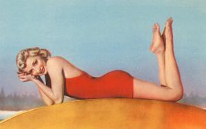 Blonde in Red Bathing Suit