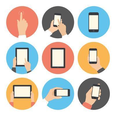 Mobile Communication Flat Icons Set