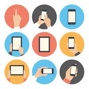 Mobile Communication Flat Icons Set by bloomua