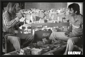 Blow Movie Johnny Depp Counting Money B&W Photo Poster Print