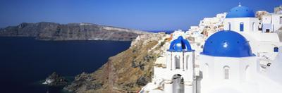 Blue Domes of a Church, Oia, Santorini, Cyclades Islands, Greece