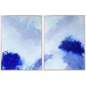 """""""Blue Hues 1&2"""" on Reverse Printed Art Glass and Anodized Aluminum Rose Gold Frame Wall Art"""