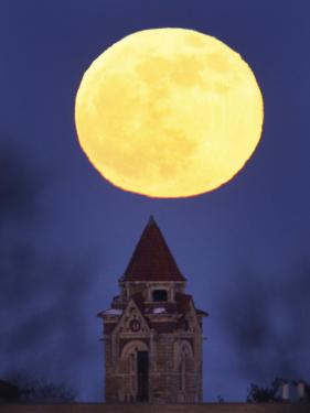 Blue Moon Rises Above Dyche Hall at the University of Kansas