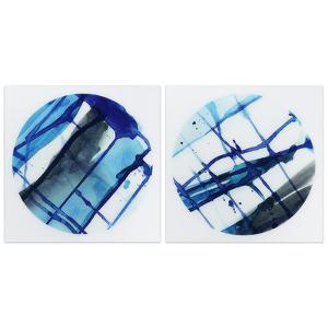 """""""Blue Stripes 1&2"""" Frameless Free Floating Tempered Glass Panel Graphic Wall Art"""