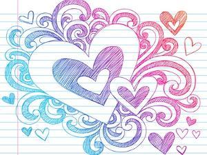 Valentine's Day Love & Hearts Sketchy Notebook Doodles Design Elements on Lined Sketchbook Paper Ba by blue67