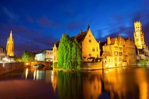 Night View of Bruges Town World Heritage Site of UNESCO by BlueOrange Studio