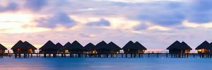 Panorama of over the Water Bungalows at Sunset by BlueOrange Studio
