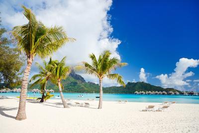 Stunning Beach and Beautiful View of Otemanu Mountain on Bora Bora Island
