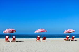 Three Sun Umbrellas at Santa Monica Beach by BlueOrange Studio