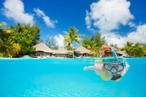 Woman Snorkeling in Clear Tropical Waters in Front of Exotic Island by BlueOrange Studio