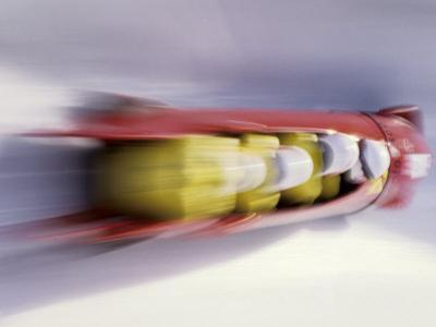 Blurred Action of 4 Man Bobsled Team, Lillehammer, Norway