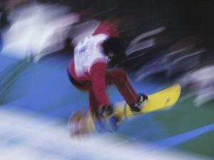 Blurred Action of Snowboarder, Nagano, JPN