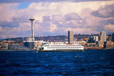 Boat in Puget Sound, Seattle beyond