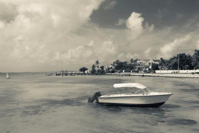 Boat on beach, Dunmore Town, Harbour Island, Eleuthera Island, Bahamas