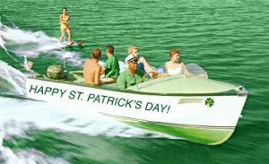 Boat Pulling Water Skier over Green Water, St. Patrick's Day