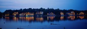 Boathouse Row Lit Up at Dusk, Philadelphia, Pennsylvania, USA