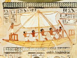 Boatmen on the Nile, from the Tomb of Sennefer, New Kingdom (Mural)