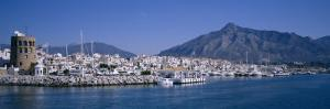 Boats at a Harbor, Puerto Banus, Marbella, Costa Del Sol, Andalusia, Spain