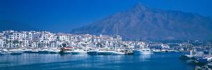 Boats at a Harbor, Puerto Banus, Marbella, Costa Del Sol, Malaga Province, Andalusia, Spain