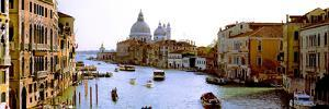 Boats in a Canal with a Church in the Background, Santa Maria Della Salute, Grand Canal, Venice,...