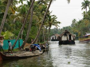 Boats in the Alleppey Backwaters, Kerala, India