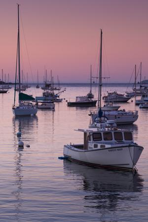 Boats in the Atlantic Ocean at dawn, Rockport Harbor, Rockport, Maine, USA