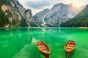 Boats Lake Dolomite Alps Italy
