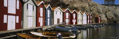 Boats Moored at the Dock, Smogen, Sotenas Municipality, Bohuslan, Sweden