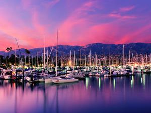 Boats Moored in Harbor at Sunset, Santa Barbara Harbor, Santa Barbara County, California, USA