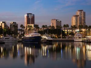 Boats on a Marina at Dusk, Shoreline Village, Long Beach, Los Angeles County, California, USA