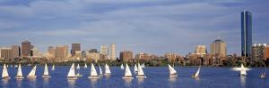 Boats on a River by a City, Charles River, Boston, Massachusetts, USA