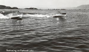 Boats Racing on Flathead Lake, Montana