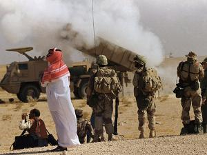 Saudi Arabia Army Soldiers Watching Multiple Rocket Launch System by Bob Daugherty