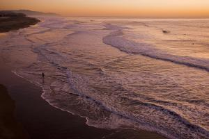 View of sea and beach at sunset, Ocean Beach, Pacific Ocean coast of San Francisco, California by Bob Gibbons