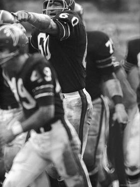 Atlanta Falcons Football Player Tommy Nobis in Action Pointing Across the Field by Bob Gomel