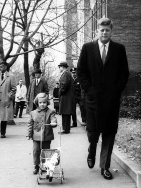 Caroline, Walking with Daddy, President Elect John F. Kennedy by Bob Gomel