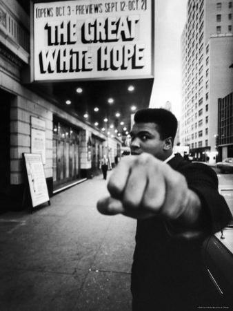 """Heavyweight Boxer Muhammad Ali Outside the Alvin Theater Where """"The Great White Hope"""" is Playing"""
