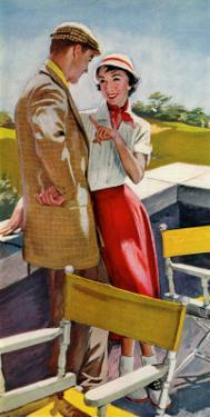"""Country Club Affair  - Saturday Evening Post """"Men at the Top"""", September 18, 1954 pg.30 by Bob Hilbert"""