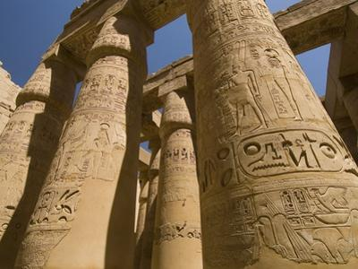 Columns with Hieroglyphs at Karnak Temple by Bob Krist
